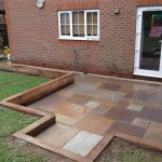 Patio retained by oak sleepers